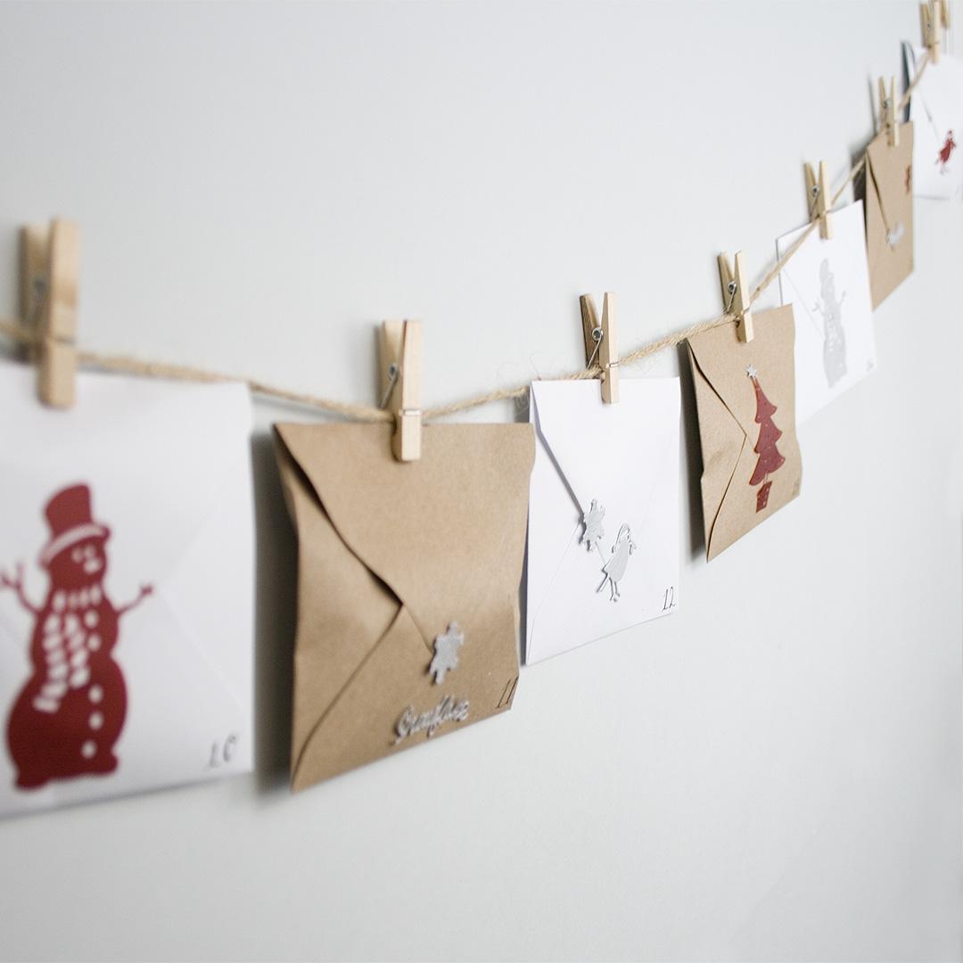 Envelope advent calendar hung up